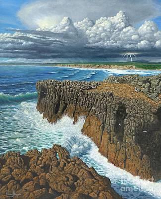 Portugal Digital Art - Atlantic Breakers Pontal Portugal by MGL Meiklejohn Graphics Licensing