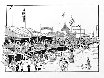 Drawing - Atlantic City Boardwalk 1883 by Ira Shander