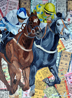 Jockey Mixed Media - Atlantic City Downs by Michael Lee