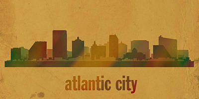 Atlantic City New Jersey Skyline Watercolor On Parchment Art Print
