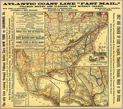 1880s Drawing - Atlantic Coast Line Railway Map 1885 by Mountain Dreams