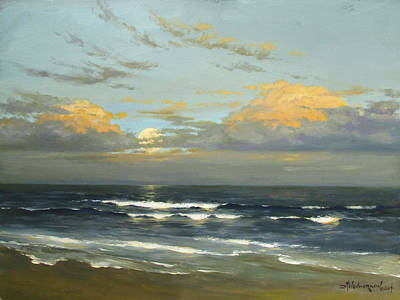 Moon Rise Painting - Atlantic Moonrise by David Henderson