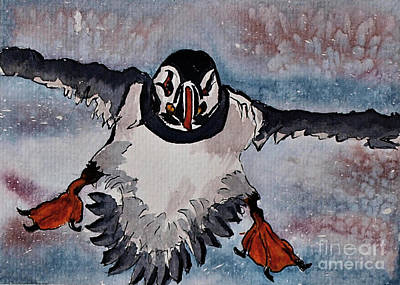Puffin Painting - Atlantic Puffin - Set 2 Of 3 by Corina Hogan