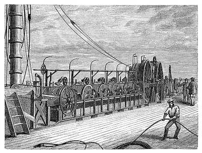 Atlantic Telegraph Cable Laying Art Print by Science Photo Library