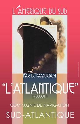 Update Digital Art - French Travel Poster Advertisement Atlantique by Steven Boland