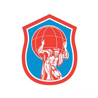Atlas Carrying Globe On Shoulder Front Shield Retro Art Print by Aloysius Patrimonio