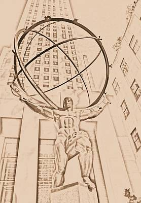 Rockefeller Plaza Digital Art - Atlas In New York City by Dan Sproul