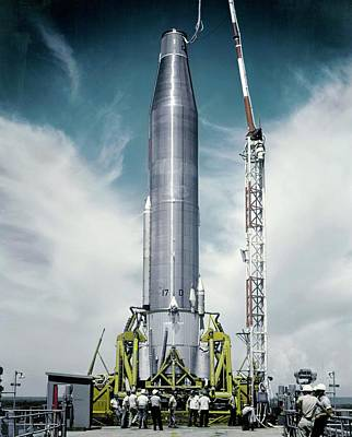 Ballistic Photograph - Atlas Missile On Launchpad by Us Air Force