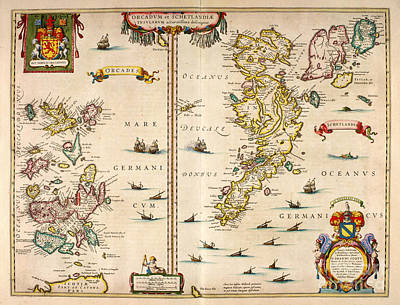 Painting - Atlas Of Scotland - Orkney And Shetland 1654 by Celestial Images