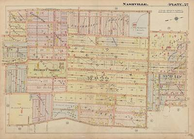 Campus Maps Drawing - Atlas Of The City Of Nashville Tennessee Belmont Neighborhood 1908 Plate 27a by Cody Cookston