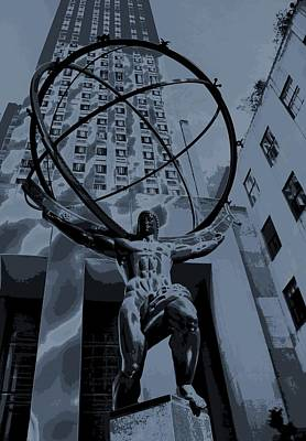 Strong America Digital Art - Atlas Rockefeller Center Poster by Dan Sproul