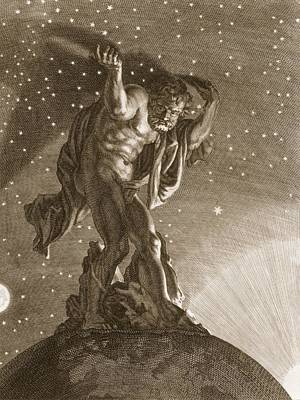 The Universe Drawing - Atlas Supports The Heavens by Bernard Picart