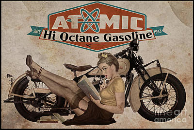 Pin Up Girl Painting - Atomic Gasoline by Cinema Photography