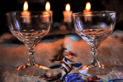 Glass Table Reflection Digital Art - Atristic Paintirly Two #glasses And Four #lights by Leif Sohlman
