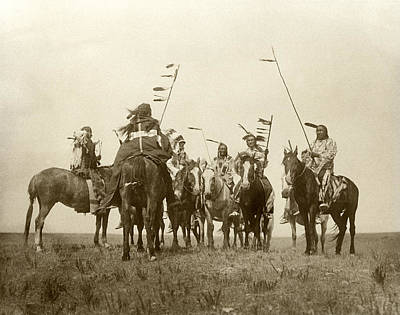 Atsina Warriors On Horseback Art Print by Underwood Archives