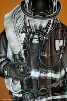 Fire Truck Drawing - Attack by Jodi Monroe