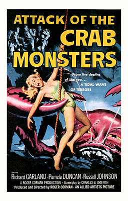 1957 Movies Mixed Media - Attack Of The Crab Monster 1957  by Presented By American Classic Art