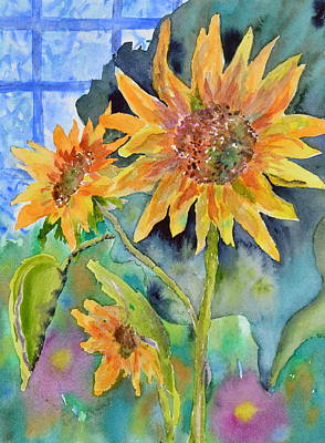 Attack Of The Killer Sunflowers Art Print by Beverley Harper Tinsley