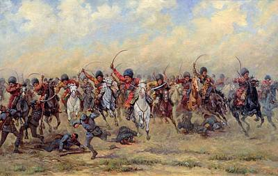 Horseman Drawing - Attack Of The Savage Division On The Austrian Infantry by Viktor Viketyevich Masurovsky