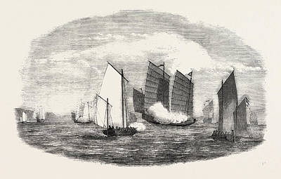 China Cove Drawing - Attack On A Chinese Piratical Fleet By The Boats Of H by Chinese School