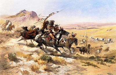 Cowboy Art Digital Art - Attack On The Wagon Train by Charless Russell