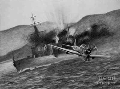 Bomber Drawing - Attack On The Yura by Stephen Roberson