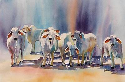 Painting - Attention All Ears.  Brahman Bulls by Roxanne Tobaison