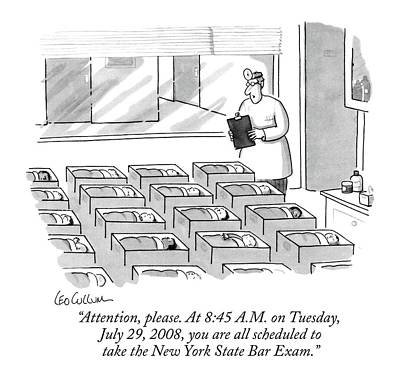 Leo Drawing - Attention, Please. At 8:45 A.m. On Tuesday, July by Leo Cullum