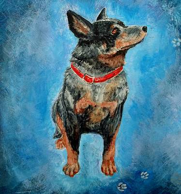 Blue Heeler Painting - Attentive by Joan Mace