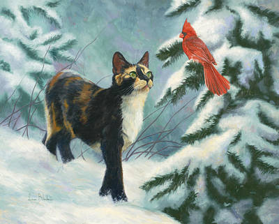 Pine Tree Painting - Attentive by Lucie Bilodeau