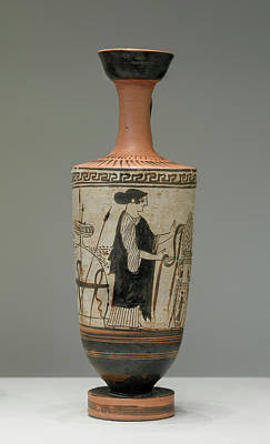Athens Drawing - Attic White-ground Lekythos Unknown Athens by Litz Collection