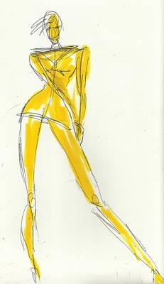 Fashion Model Drawing - Attitude by P J Lewis