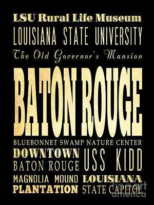 Louisiana State University Digital Art - Attraction And Famous Places Of Baton Rouge Louisiana  by Joy House Studio