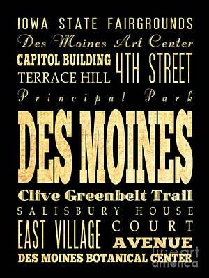 Capitol Building Digital Art - Attraction And Famous Places Of Des Miones Iowa by Joy House Studio