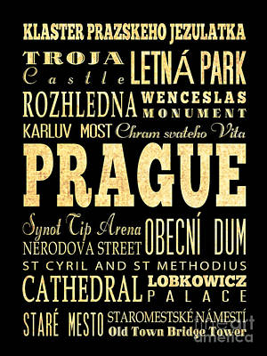 Prague Castle Digital Art - Attraction And Famous Places Of Prague Czech Republic by Joy House Studio