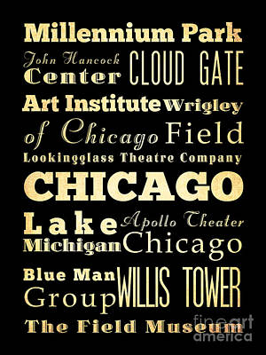 Attractions And Famous Places Of Chicago Illinois Art Print by Joy House Studio