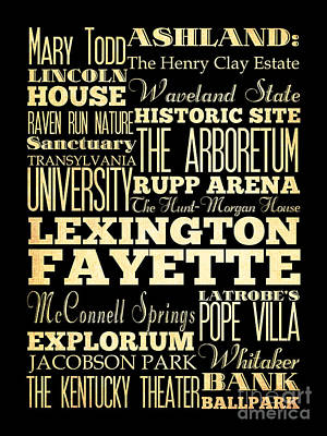 Attractions And Famous Places Of Lexington Fayettte Kentucky Art Print by Joy House Studio