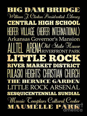 Attractions And Famous Places Of Little Rock Arkansas Art Print