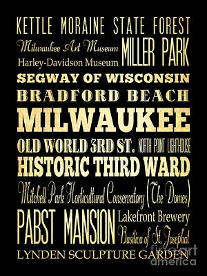 Attractions And Famous Places Of Milwaukee Wisconsin Art Print