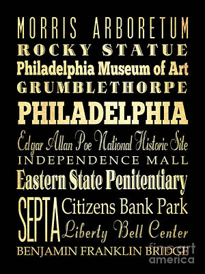 Attractions And Famous Places Of Philadelphia Pennsylvania Art Print by Joy House Studio