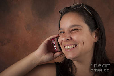 City Scenes - Attractive Brunette Woman Talking on Her Cell Phone by Joel  Bourgoin