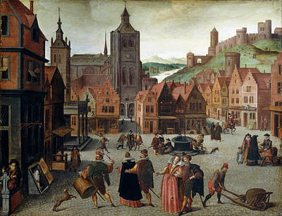 Op Painting - Attributed To Abel Grimmer, The Marketplace In Bergen Op by Litz Collection