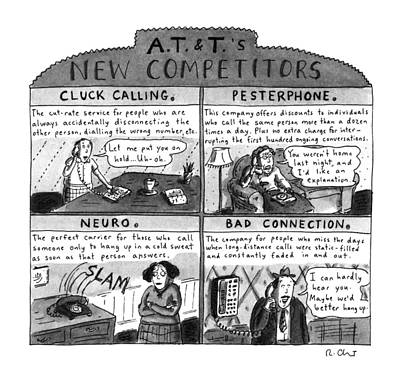 Cartoon Drawing - A.t.&t.'s New Competitors by Roz Chast