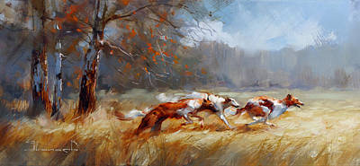 Sports Paintings - Atu. Hunting with greyhounds. by Alexey Shalaev