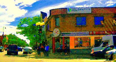 Atwater And Notre Dame  Montreal Summer Scene Cafe La Belle Province St Henri Carole Spandau Art Print