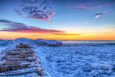Stiched Photograph - Atwater Icy Sunrise by Andrew Slater