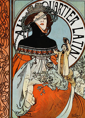 Magazine Cover Drawing - Au Quartier Latin by Alphonse Marie Mucha