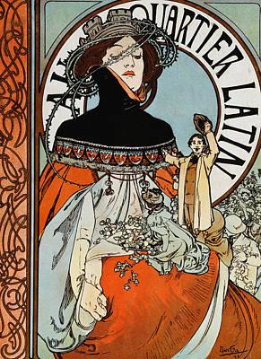 Au Quartier Latin Print by Alphonse Marie Mucha