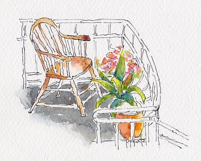 Montreal Painting - Auberge De La Fontaine Balcony by Pat Katz