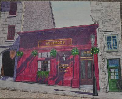 Quebec Streets Drawing - Auberge's Restaurant by Dave Smith